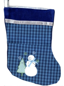 Blue-Hued Snowman Applique on Gingham