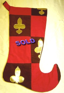 Red Courderoy Patches with Gold Fleur-de-Lis