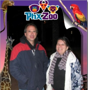 Shawn and I at the entrance to Zoo Lights